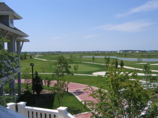 A view of the golf course from the Veranda