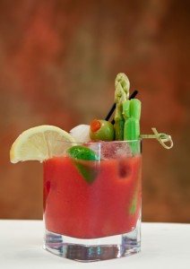 Bloody Mary garnished with fruit and veg