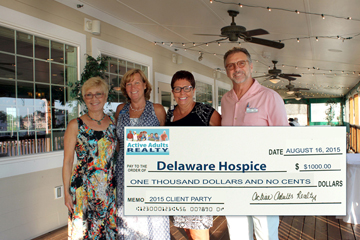 Kathy Sperl-Bell, Peggy Dolby,  Assistant Director of Development and Barbie McDaniel from Delaware Hospice and Bill Bell.