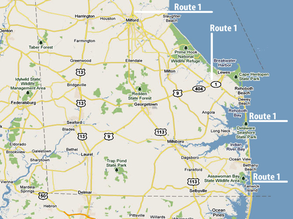 sussex-county-map-route 1
