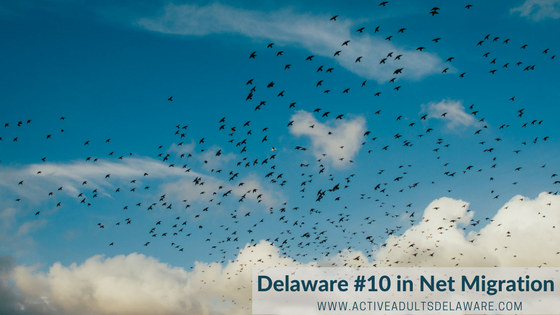 retirement relocation Delaware ranks #10 in net migration