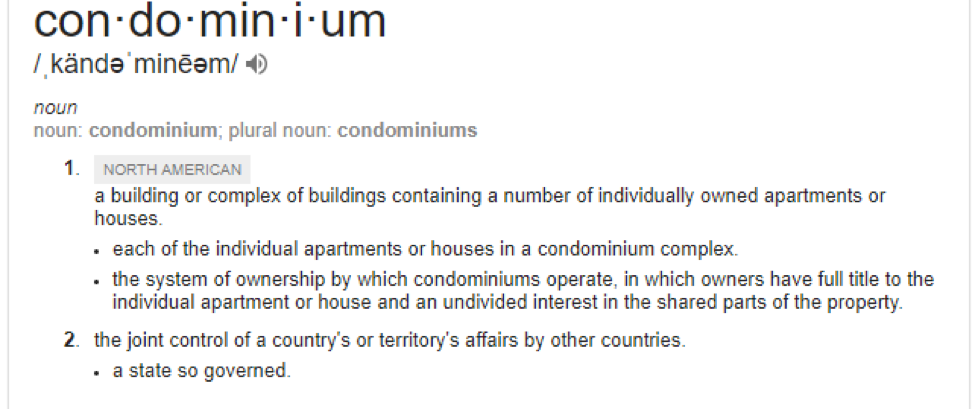A Condo is refers to a type of ownership